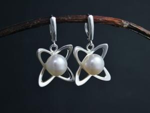 Atomic Pearl Dangle Earrings in Sterling Silver, White Akoya Pearl Earrings, Pearl Dangle Earrings, Leverbacks,  Ready to Ship Earrings