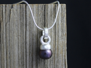 Natural Grey Akoya Pearl Pendant, Sterling Silver Pendant, Unique Pendant Design, One of a Kind, Mother of the Bride, Ready to Ship Neckwear