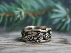 14k Yellow Gold Flower and Leaf Ring - Twig Ring - Organic Natural Ring - Oxidized Ring - Unique Band Ring - Made to order