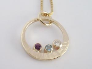 14k three stone bezel pendant gold pendant, 14k Yellow Gold, Made to Order