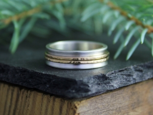 Sterling Silver and 14k Yellow 6mm Gold Band, Concave Silver Band, Hammered Gold Rings, Wedding Band, Stacking Ring, Ready to Ship Size 7.5
