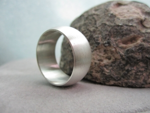 10mm silver ring rounded band  ring