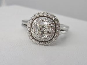 14kt white gold double halo engagement wedding ring