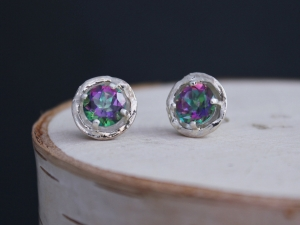 Mystic Topaz Sterling Silver Studs, Rainbow Gemstone Studs, Sterling Silver Cups, 14k Gold Posts, Ready to Ship Earrings