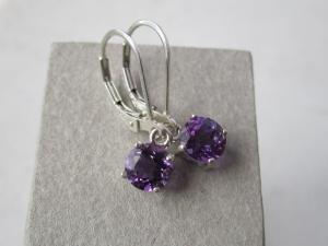 Amethyst dangle earrings leverback  in tarnish resistant sterling silver