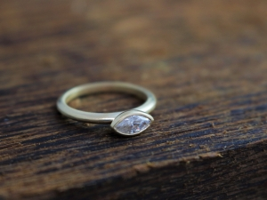 Moissanite Marquise Ring in 14k Yellow Gold, Engagement Ring, East West Marquise, Sideways Marquise, Stackable Ring, Ready to Ship Size 7