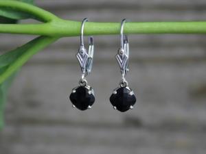 Black Onyx Dangle Earrings, 14k White Gold Earrings, Cushion Cut Black Onyx, Leverback Earrings, Black Gemstone Earrings, Ready to Ship