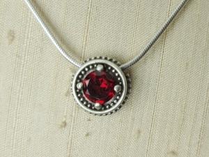 Silver Garnet Pendant sterling silver Vintage Inspired