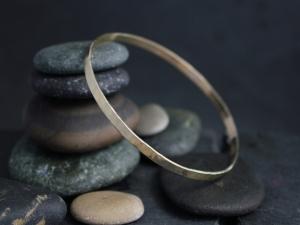 Hammered Yellow Gold Bangle Bracelet, Solid 14k Gold Bracelet 3.5mm, Handmade Bangle, Hammered Bangle, Ready to Ship Bracelet
