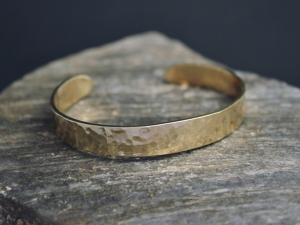 Hammered Yellow Gold Cuff Bracelet, Handmade Yellow Gold Bracelet, Solid 14k Yellow Gold Cuff Bracelet, made to order