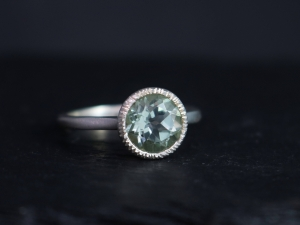 8mm Prasiolite Sterling Silver Ring, Green Amethyst Ring, Textured Bezel, Statement Ring, Cocktail, Ready to Ship Size 7
