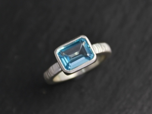East to West Blue Topaz Ring, Emerald Cut Topaz, Sterling Silver Textured Shank, Blue Topaz Solitaire, Cocktail Ring, Ready to Ship Size 6