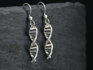 DNA Earrings Sterling Silver French Hook Backs - Gift for Science - DNA Dangle Earrings - Theresa Pytell on Etsy