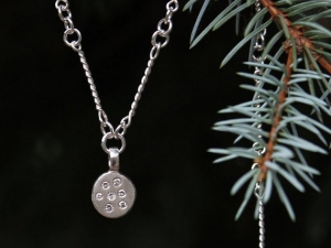 Pleiades Necklace, Handmade Silver Chain Link Necklace, Diamond Coin Pendant, Constellation Pendant, Eco Friendly, Ready to Ship Neckwear