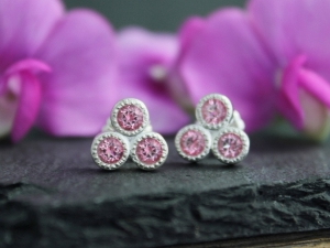 Pink Topaz Trio Stud Earrings - Sterling Silver Three Stone Studs - Triangle Stud Earrings - Birthstone Earrings - Ready to Ship