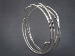 Sterling Silver Diamond Twig Bangle, Free Form Bangle Bracelet, One of a Kind, Ready to Ship Bracelet