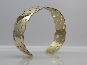 14kt yellow gold hand made hand formed solid gold cuff bracelet one of a kind