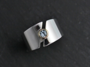 Sterling Silver and 14k Yellow Gold Aquamarine Ring, Split Band, Bezel Set Diamond, Two Tone Ring, Mixed Metals, Ready to Ship Size 8