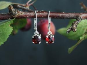 Checkerboard Garnet Dangle Earrings, Sterling Silver Leverback Earrings, Sparkly Garnet Earrings, Ready to Ship Earrings