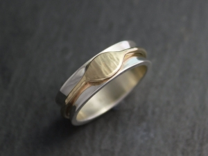 Sterling Silver 14k Yellow Gold Band - Two Tone Ring - Eye Ring - Concave 6mm Band - Ready to Ship Size 7