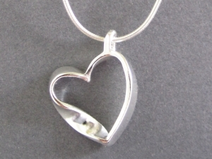 Mobius Heart Pendant, Sterling Silver Mobius Heart Pendant, Inspired by Science, Gift for Scientist, Ready to Ship Neckwear