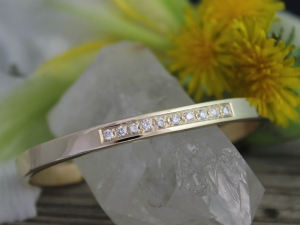 14k Yellow Gold Diamond Cuff Bracelet, Handmade Cuff Bracelet, Diamond Gold Cuff, Anniversary Gift, Ready to Ship Bracelet
