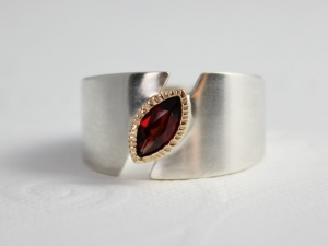 Sterling Silver 14k Yellow Gold Garnet Ring Marquise Garnet Ring  Bezel Set Textured Halo  Two Tone  One of a Kind Made to order