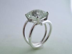 Cushion Emerald Cut Prasiolite Ring - Sterling Silver Ring - Vintage Inspired Ring - Green Amethyst Ring