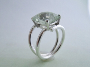 Cushion Emerald Cut Prasiolite Ring - Sterling Silver Ring - Vintage Inspired Ring - Green Amethyst Ring
