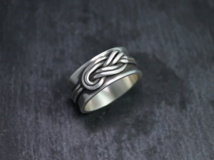 Double Infinity Knot Ring, Figure Eight Knot Ring, Love Knot Ring, Sterling Silver 10mm Wide Band, Climber's Knot, Ready to Ship Size 9