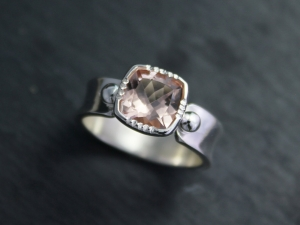 Cushion Cut Morganite Ring, Sterling Silver Soft Pink Gemstone Ring, Wide Band, Eco Friendly Conflict Free, Made to Order
