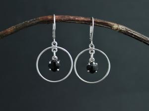 Cushion Cut Black Onyx Dangle Earrings in Sterling Silver, Dangle Black Onyx Earrings, Hoop Dangles, Leverback, Ready to Ship Earrings