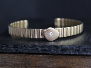 Solid 14k Yellow Gold Diamond Cuff Bracelet, Handmade Bracelet, Modern Cuff, One of a Kind, Corrugated Cuff, Ready to Ship Bracelet