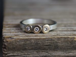 Three Stone Diamond Pebble Ring, Sterling Silver & 14k Yellow Gold, 2mm Wide Band, Modern Button Ring, Made to Order