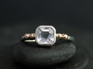 Asscher Cut White Topaz Ring, 14k Rose Gold and Sterling Silver Ring, Bezel Set White Topaz Ring, Made to Order