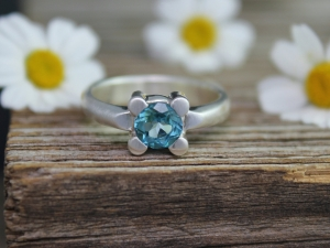 Blue Topaz Four Prong Ring, Modern Prong Ring, Flat Bottom Ring, Blue Topaz Solitaire, Eco Sterling Silver, Ready to Ship Size 6.5