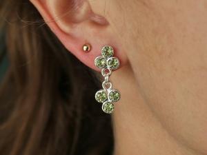 Peridot Trio Dangle Earrings, Sterling Silver Peridot Three Stone Studs, Triangle Stud Earrings, August Birthstone, Ready to Ship Earrings