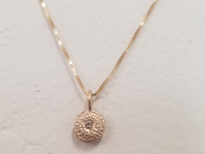 14k Gold Champagne Diamond Coin Pebble Pendant, Coin Necklace, Recycled Gold, Conflict Free, Minimalist Pendant, Hammered gold coin pendant