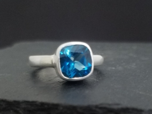 Cushion cut London Blue Topaz Ring, Sterling Silver Ring,  Blue Topaz Solitaire, Cocktail Ring, Ready to Ship Size 7
