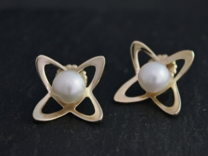 Atomic Pearl Earrings, 14k Yellow Gold and Cultured White Akoya Pearl, Abstract Stud Earrings, Abstract Flower Earrings, Ready to Ship