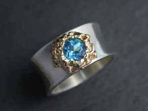 Silver Gold Swiss Blue Topaz Ring , Fused 14k Yellow Gold Ring, Organic Ring, Silver Concave Ring, Made to order