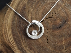 White Topaz Sterling Silver Pendant, White Topaz Swirl Pendant, Circle Pendant with Gemstone, Birthstone Jewelry, Ready to Ship