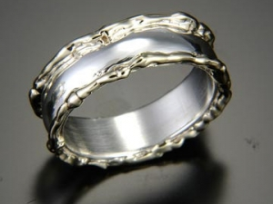 14kt gold 6mm sterling silver wedding ring band twig ring