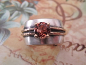 Sterling silver  14kt yellow gold  peach pink tourmaline