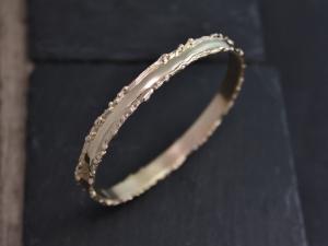 14k Yellow Gold Organic Bangle Bracelet, Unique Gold Bangle, Handmade Bangle, Textured, Twig, Fused Gold Edge, 6mm Wide, Anniversary Gift