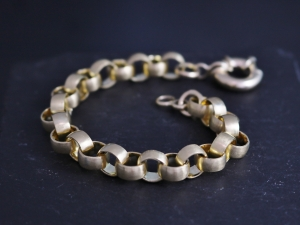 14k Yellow 8mm Gold Rolo Chain Link, Handmade Chain Link Bracelet, Anniversary Gift, 4mm Wide 1.5mm thick, Made to order Handmade chain link