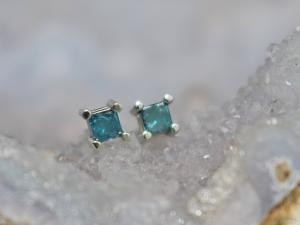 Blue Diamond 14k White Gold Stud Earrings, 2mm Teal Diamond Stud Earrings, Princess Cut Diamond Earrings, December Birthstone, Ready to Ship