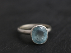 Aquamarine Ring, Bezel Set Sterling Silver, Oval, March Birthstone, Blue, Engagement, Ready to Ship Size 7