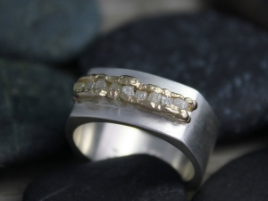 Sterling Silver 14k Yellow Gold Raw Diamond Ring - One of a Kind - Diamond Band - Square Band Ring - Two Tone Ring - Ready to Ship SZ 8