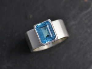 Emerald Cut Swiss Blue Topaz Ring, Bezel Set Blue Topaz, Wide Band, Cocktail Ring, Ready to ship size 6.5, 7